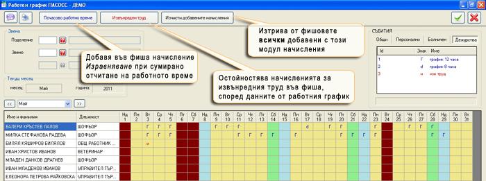 Работен график при сумирано отчитане на работното време и извънреден труд
