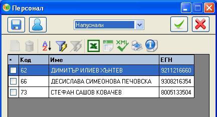 УП-2, списък служители